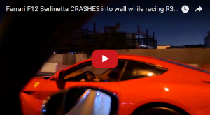Ferrari F12 Crashes Hard Into a Wall While Street Racing In Dubai
