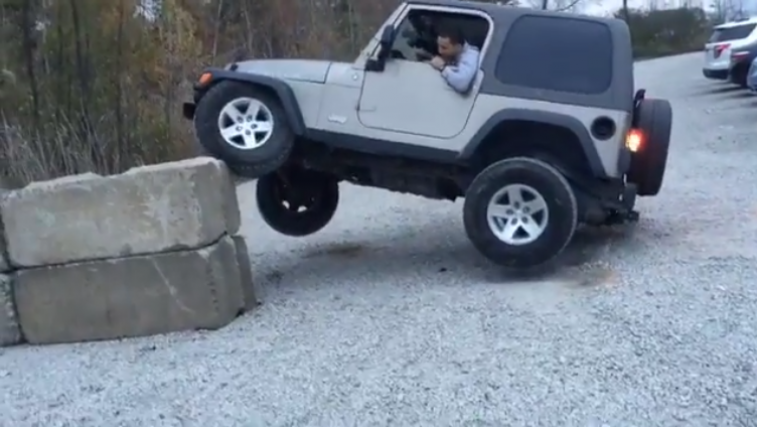 Jeep Tipped Over In Car Park