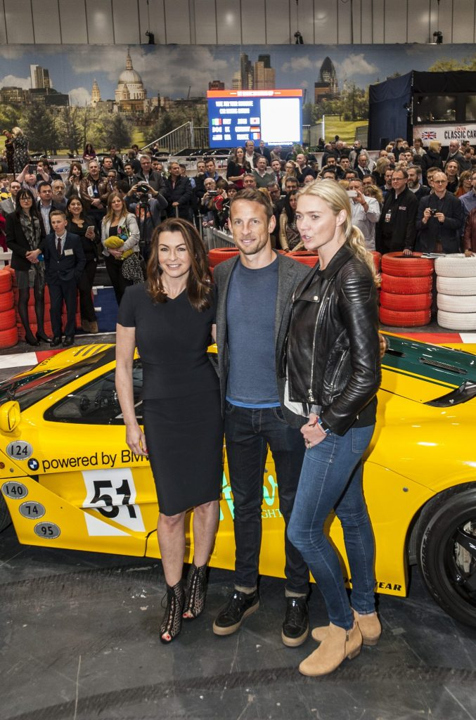 Suzi Perry, Jenson Button and Jodie Kidd with the McLaren F1