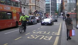 Push Bike Cop Pulls Bugatti Veyron Over in London